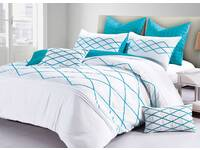 Super King Size Adela White and Turquoise Blue Quilt Cover Set