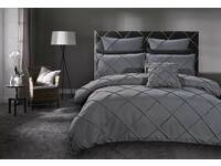 Queen Size Abel Grey Pintuck Quilt Cover Set