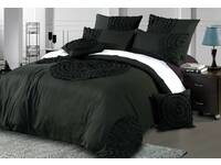 Laura Circle Charcoal / Black Quilt Cover Set