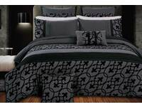 Super King Dursley Charcoal Black Quilt Cover Set / 3 pcs duvet cover set
