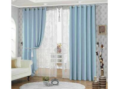Blue Eyelet Ring Top Blackout / Blockout Curtain (size: 120x221cm)