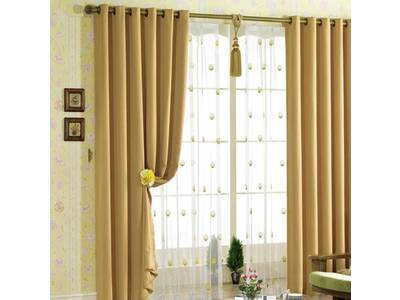 Camel Eyelet Ring Top Blackout / Blockout Curtain (size: 240x221cm)