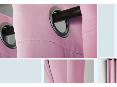 Pink Eyelet Ring Top Blackout / Blockout Curtain (size: 120x221cm)