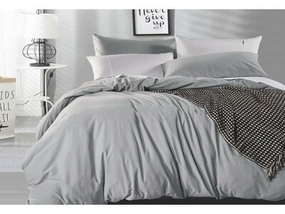 Vintage Washed Pure Cotton Quilt Cover Set (Pewter Color)