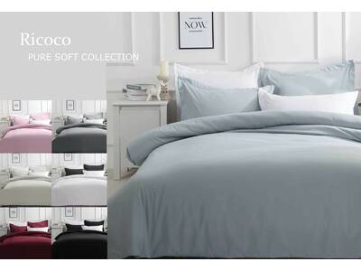 Ricoco Solid Plain Color Pure Soft Quilt Cover Set