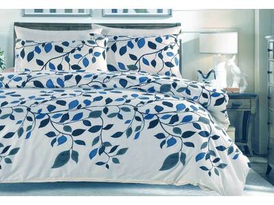 KING or Queen navy blue leaf pattern ivory Quilt Cover set / 3pc doona Cover set