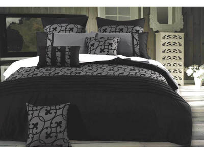 Luxton Lyde Charcoal Black Quilt Cover Set