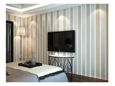 Classic modern striped CREAM wallpaper