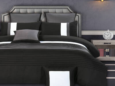Aleah Quilt Cover Set pintuck in Black and Grey