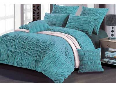 Aniene Aqua Blue Duvet Cover Set options in King / Queen size
